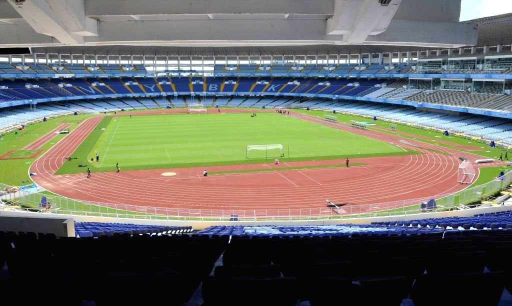 Preparation for U-17 FIFA World Cup underway at Vivekananda Yuba Bharati Krirangan (VYBK) popularly known as Salt Lake Stadium in Kolkata, on Oct 4, 2017.