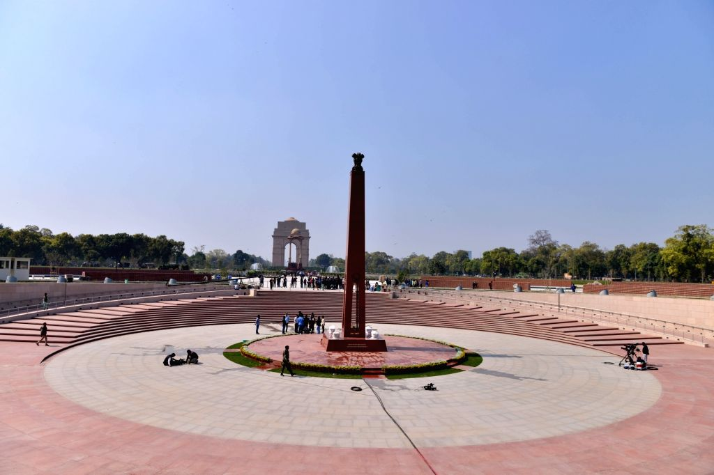 Preparation underway at the 'National War Memorial' near India Gate which will be inaugurated by Prime Minister Narendra Modi on February 25, in New Delhi, on Feb 24, 2019. - Narendra Modi
