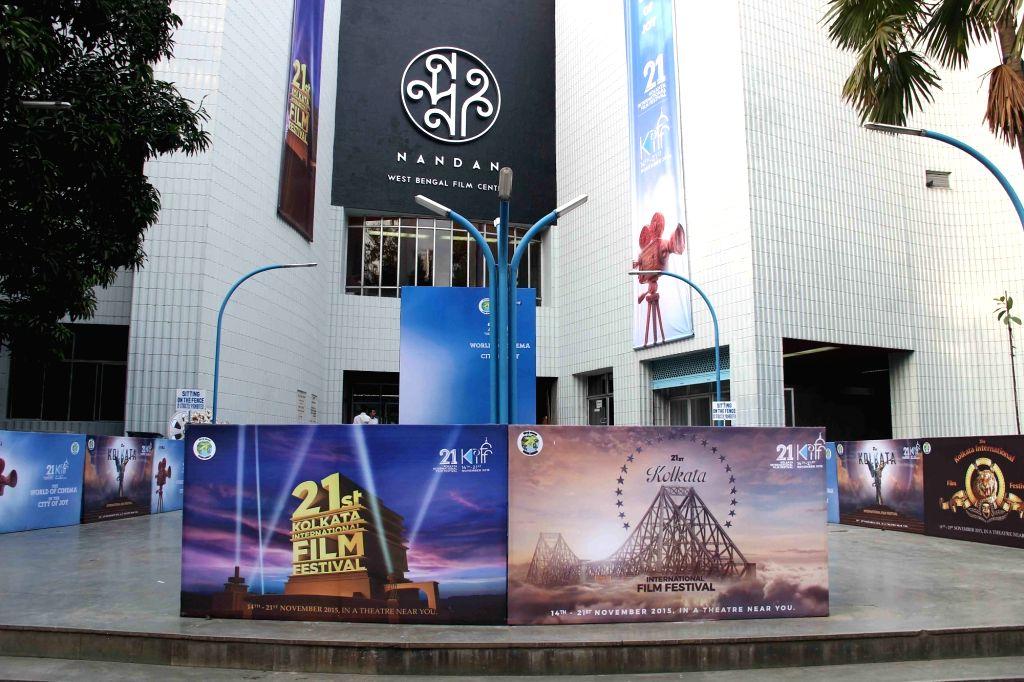 Preparations for 21st Kolkata International Film Festival underway at  Nandan in Kolkata, on Nov 13, 2015.