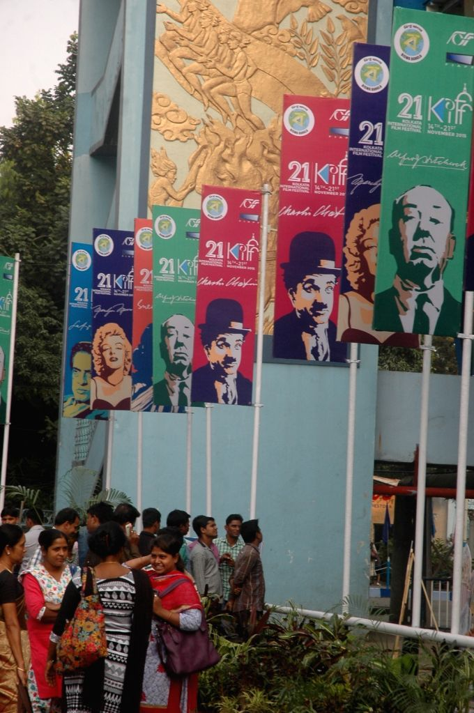 Preparations for 21st Kolkata International Film Festival underway at Netaji Indoor Stadium in Kolkata, on Nov 13, 2015.