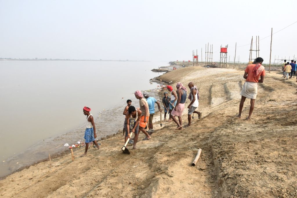 Preparations for Chhath Puja celebrations underway at Bans Ghat in Patna on Oct 28, 2019.