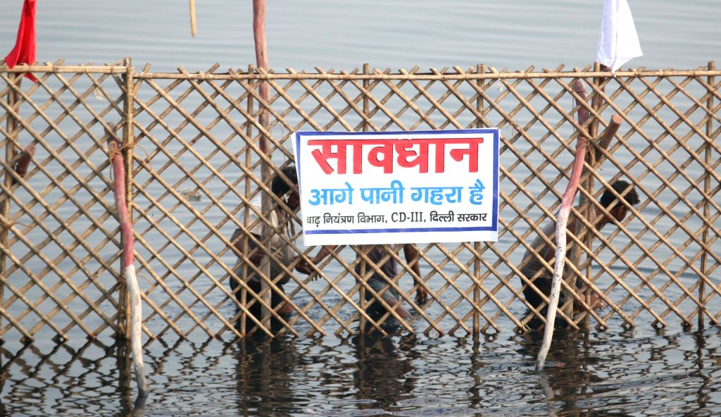 Preparations for Chhath Puja underway on the banks of Yamuna river in New Delhi, on Nov 16, 2015.
