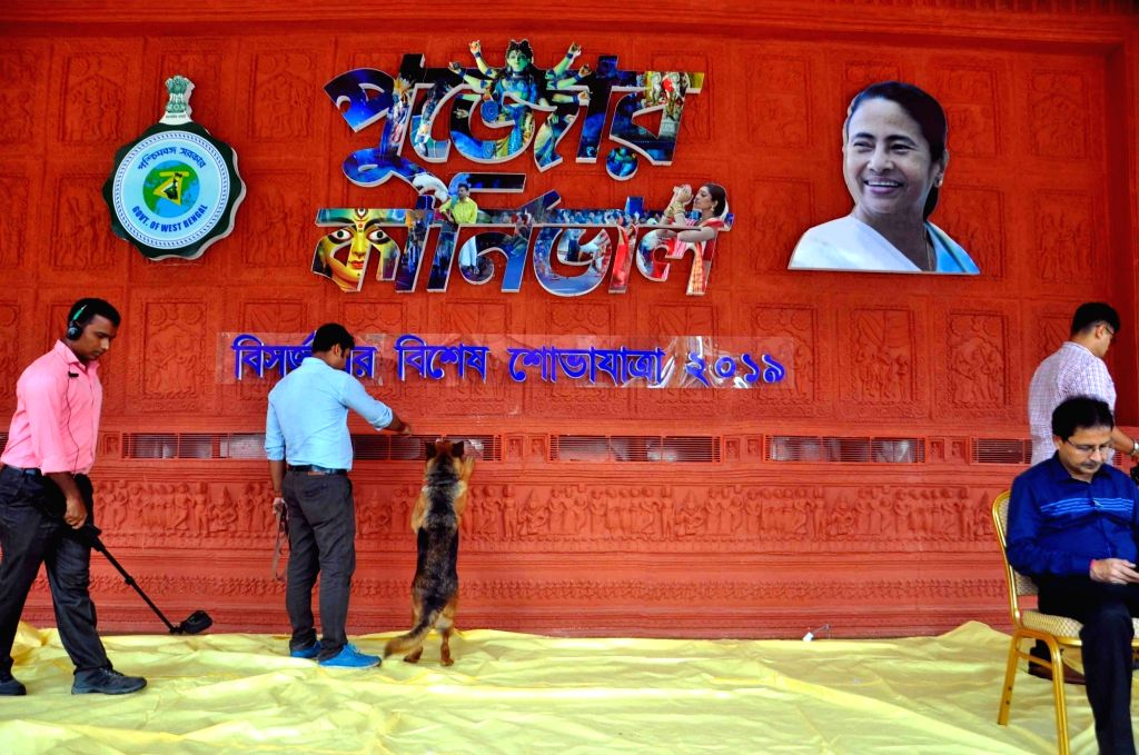 Preparations for Durga Puja carnival underway at Red Road in Kolkata on Oct 10, 2019.