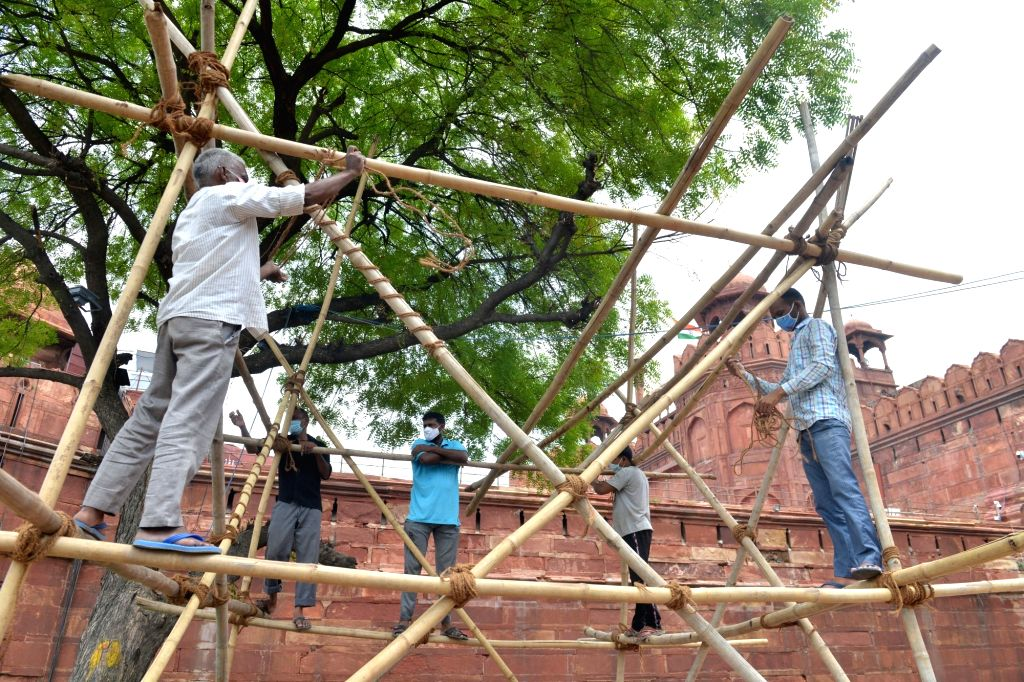 Preparations for Independence Day celebrations underway at Red Fort in New Delhi on July 30, 2020.