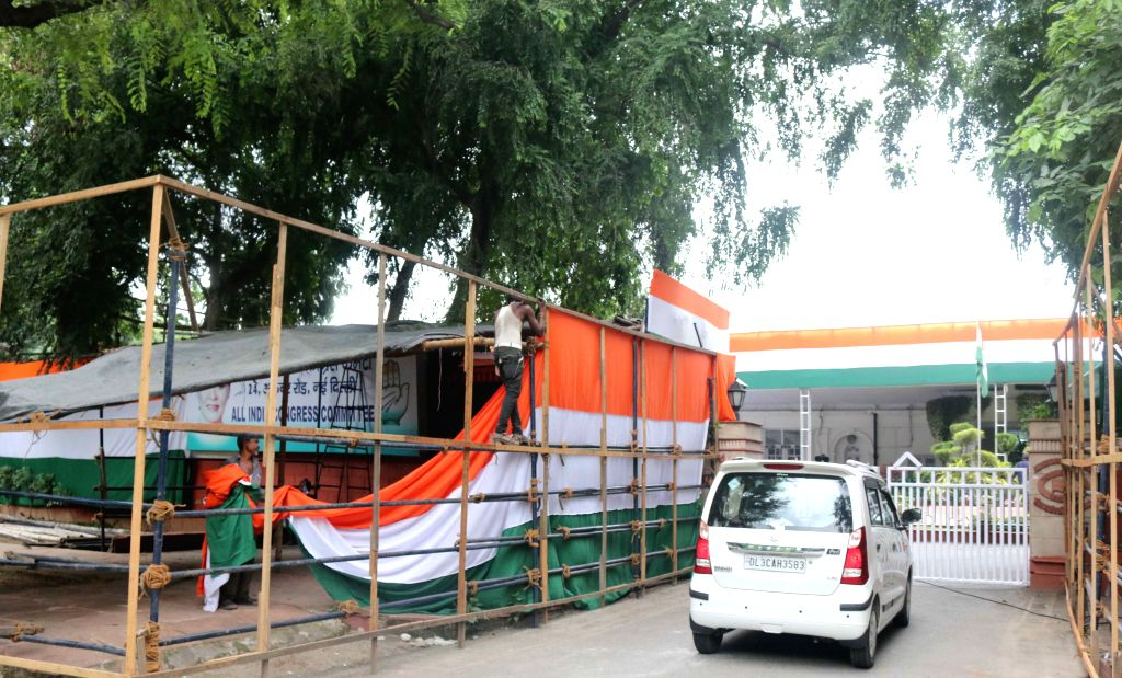 Preparations for Independence Day celebrations underway at Congress office in New Delhi, on Aug 14, 2015.
