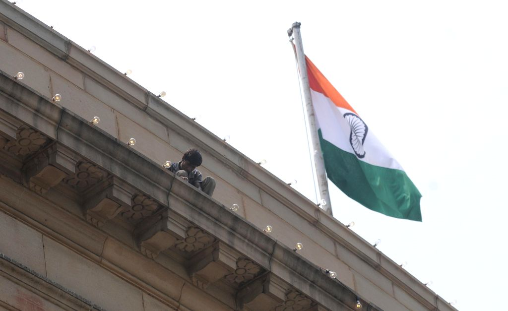 Preparations for Independence Day underway at the Parliament in New Delhi, on Aug 12, 2015.