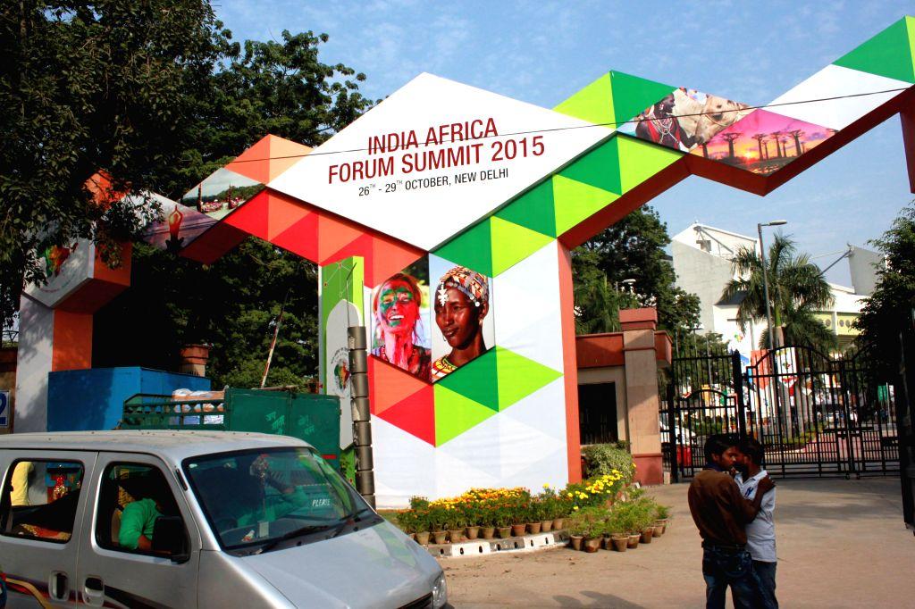 Preparations for India Africa Forum Summit 2015 underway at the Indira Gandhi Indoor Stadium, in New Delhi, on Oct 24, 2015.