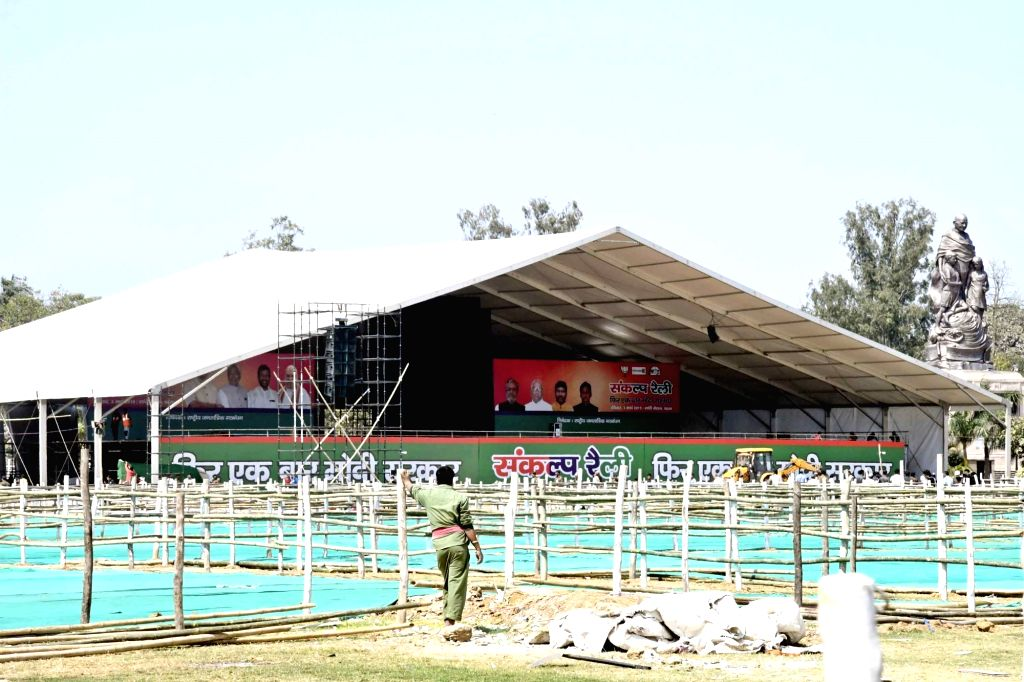 Preparations for NDA's Sankalp Rally underway at Gandhi Maidan in Patna on March 1, 2019.