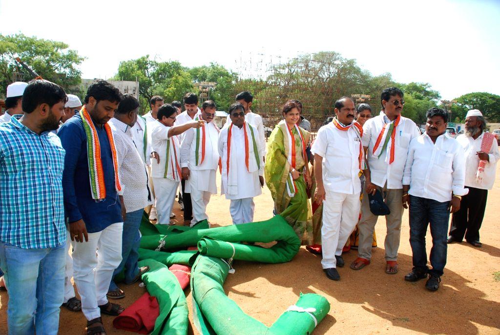 Preparations for Rahul Gandhi's rally underway in Sangareddy district of Telangana on May 30, 2017. - Rahul Gandhi