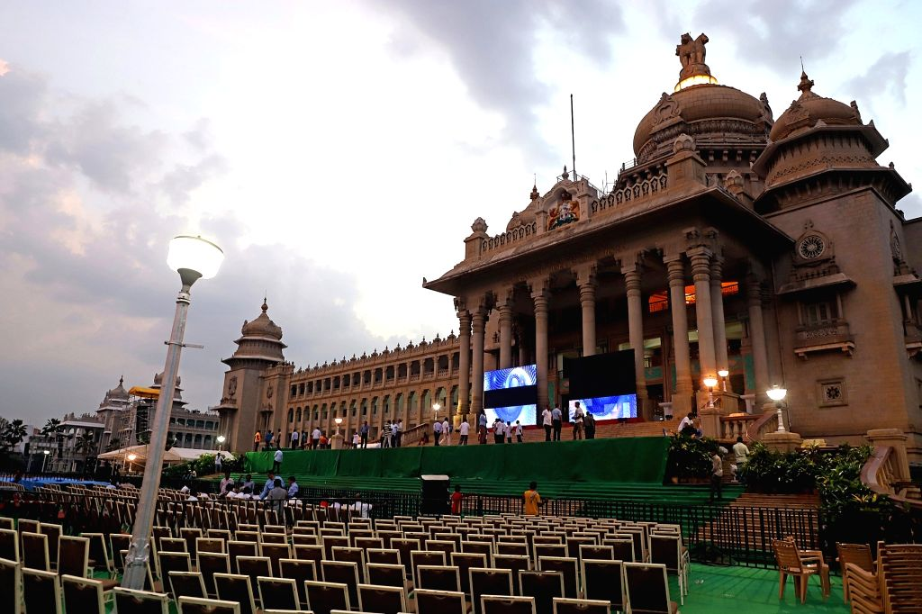 Preparations for swearing in ceremony of Karnataka Chief Minister-designate H. D. Kumaraswamy underway at Vidhan Soudha in Bengaluru, on May 22, 2018.