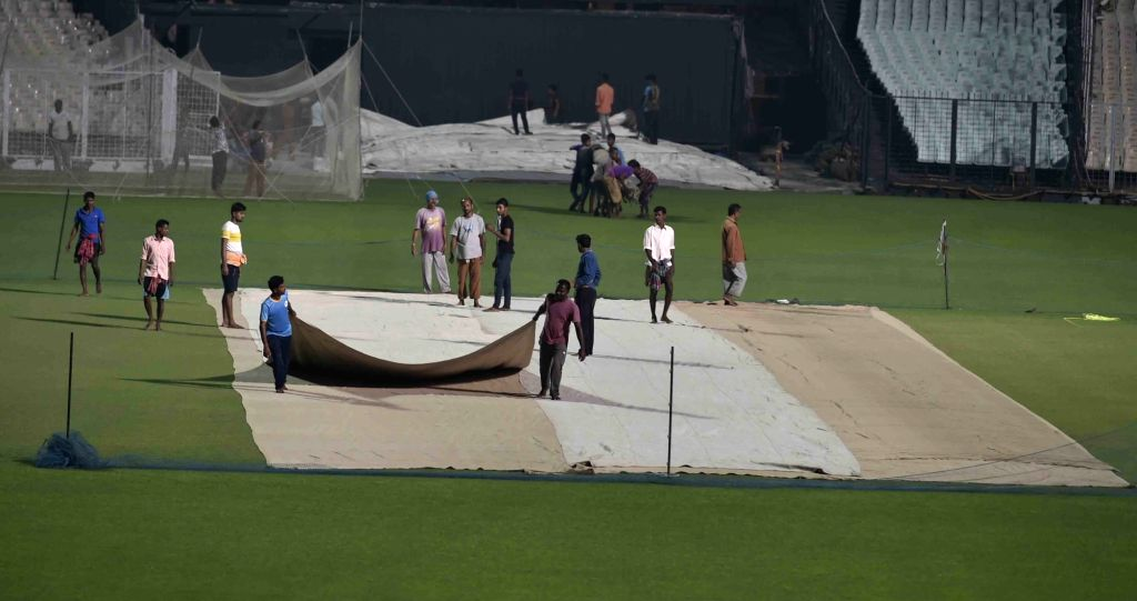 Preparations for the first day-night test match between India and Bangladesh underway at the Eden Gardens in Kolkata on Nov 16, 2019.
