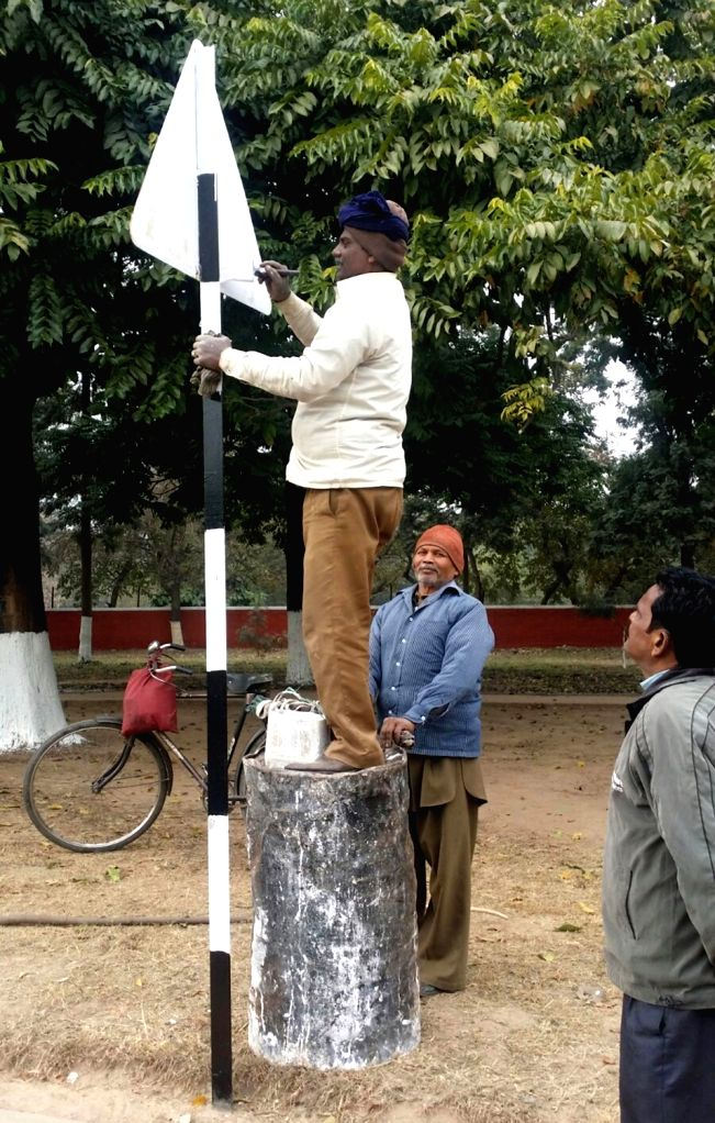 Preparations for the visit of French President Francois Hollande underway in Chandigarh  on Jan 21, 2016.