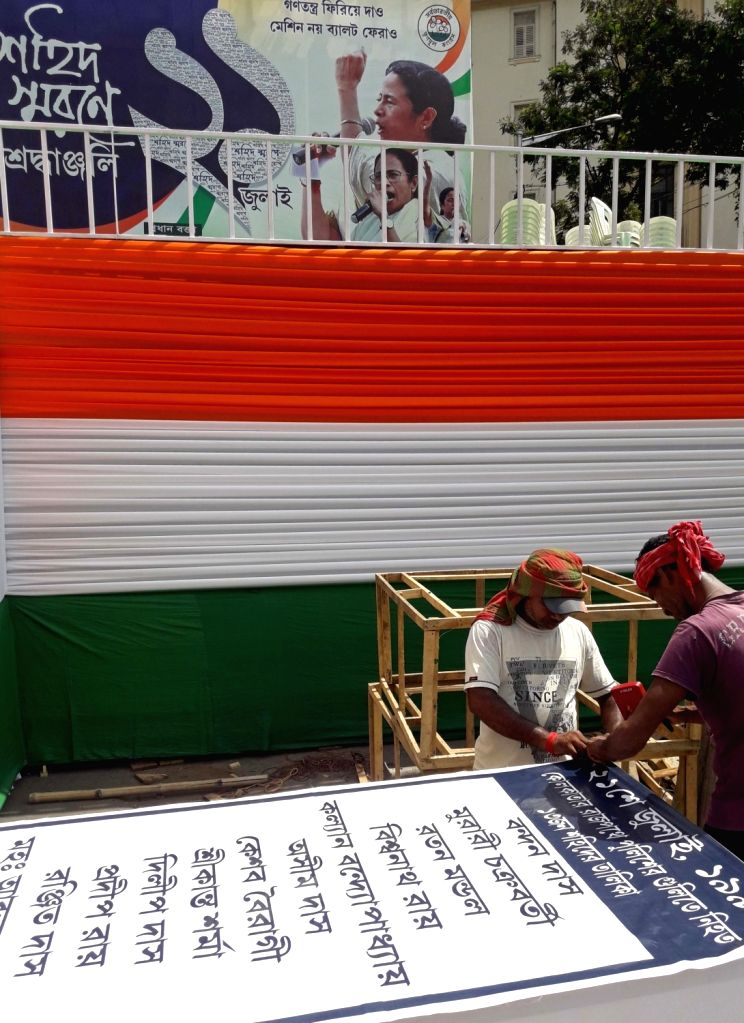 Preparations in full swing on the eve of Martyrs' Day rally, in Kolkata on July 20, 2019.