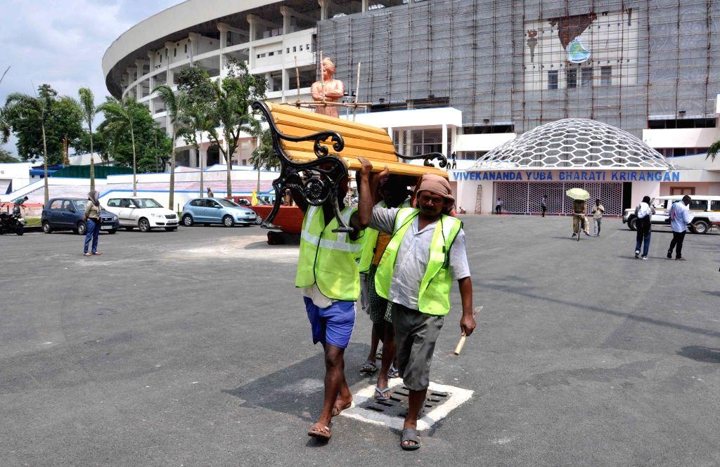 Preparations underway ahead of FIFA U-17 World Cup India 2017 at the Salt Lake Stadium in Kolkata on Sept 10, 2017.