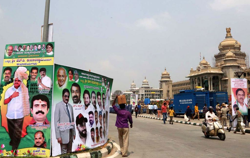 Preparations underway ahead of Janata Dal-Secular (JD-S) leader H.D. Kumaraswamy's swearing-in as the 25th Chief Minister of Karnataka, at Vidhana Soudha in Bengaluru on May 23, 2018.