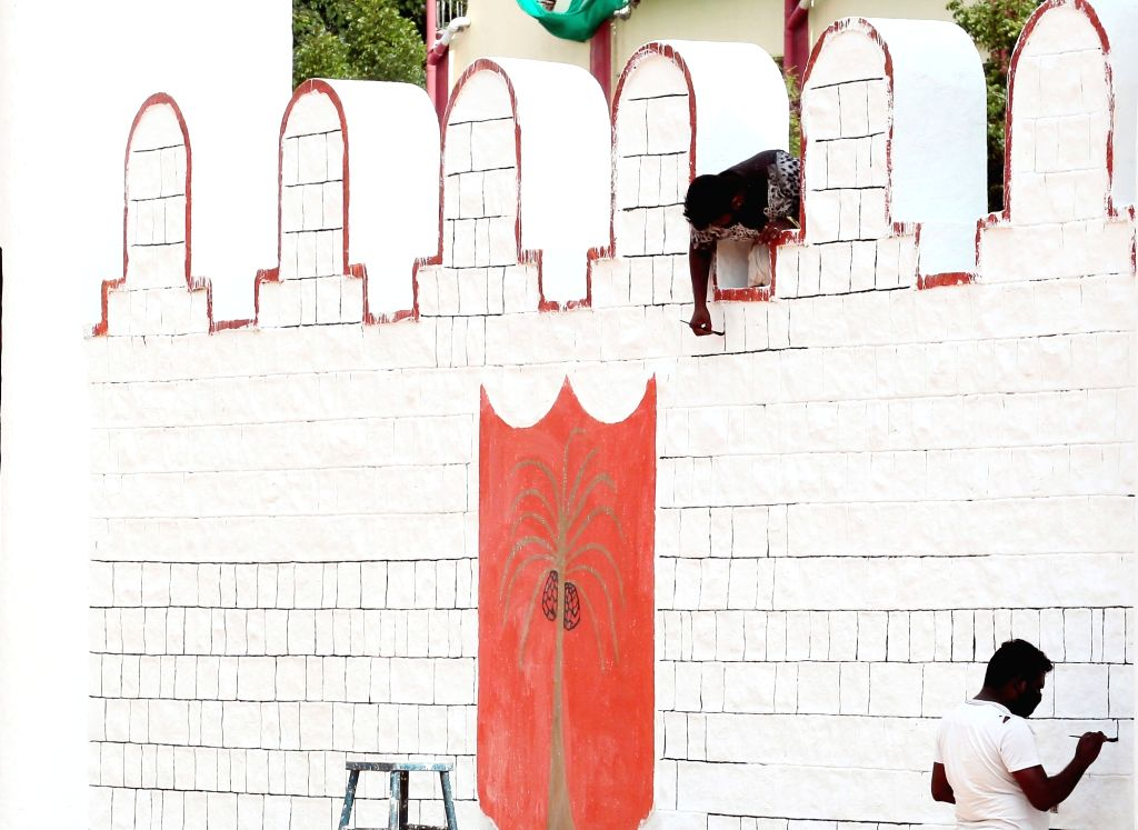 Preparations underway at Manekshaw Parade Grounds ahead of Independence Day celebrations, in Bengaluru on Aug 3, 2020.