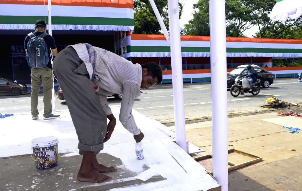 Preparations underway at Red Road on the eve of the 74th Independence Day celebrations 2020, in Kolkata on Aug 14, 2020.