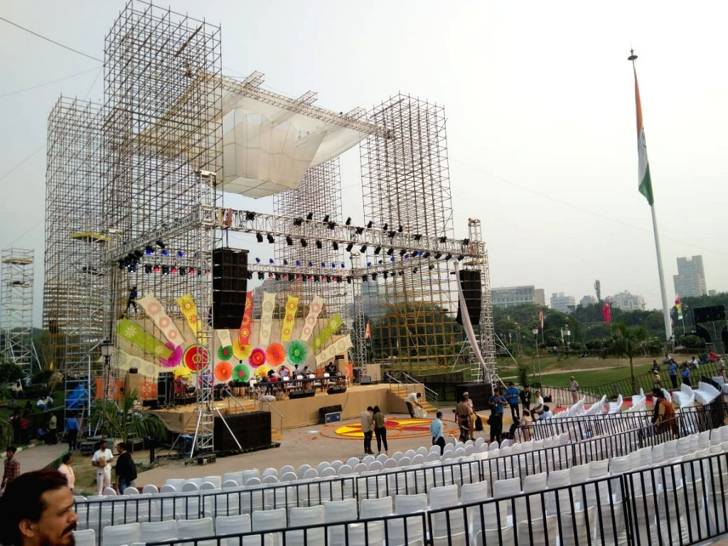 Preparations underway for mega community Diwali celebrations organised by the Delhi Govt at Central Park in New Delhi's Connaught Place on Oct 26, 2019.