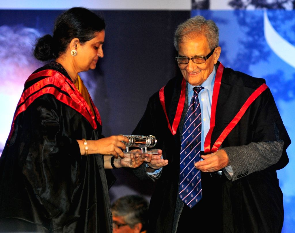 Presidency University Vice-Chancellor Anuradha Lohia confers D.Litt. (Honoris Causa) to  Nobel Laureate Amartya Sen at the Special Convocation of the  Presidency University in Kolkata, on ...