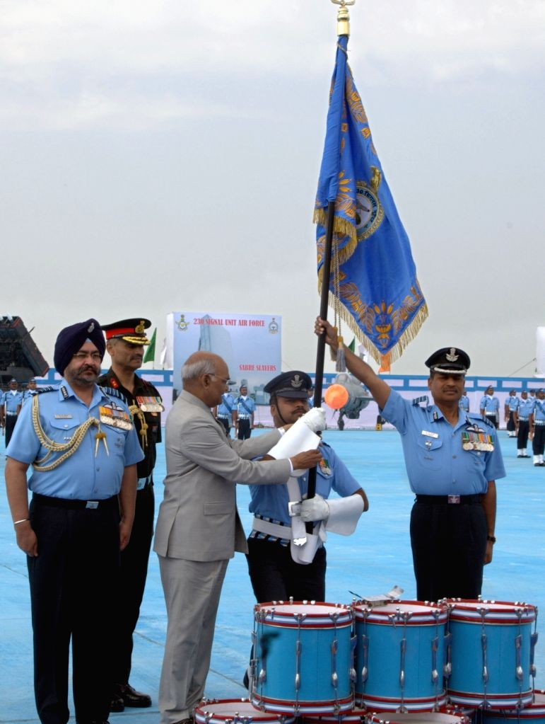 President and Supreme Commander of the Indian Armed Forces Ram Nath Kovind awards President's Colours to 230 Signal Unit, at Air Force Station in Halwara, Punjab on March 22, 2018.