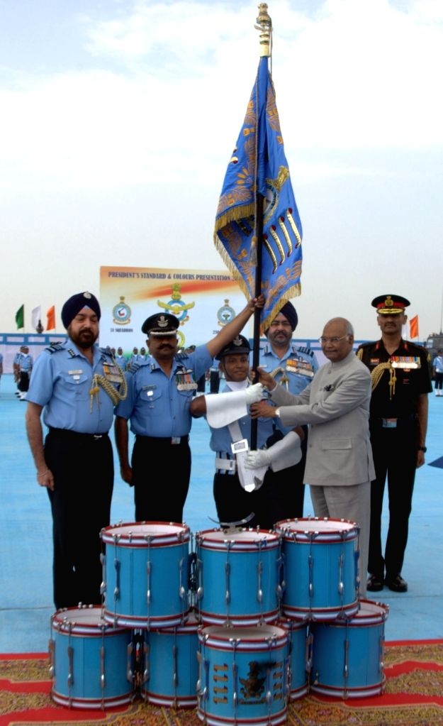 President and Supreme Commander of the Indian Armed Forces Ram Nath Kovind awards President's Standard to 51 Squadron, at Air Force Station in Halwara, Punjab on March 22, 2018. Also seen ...