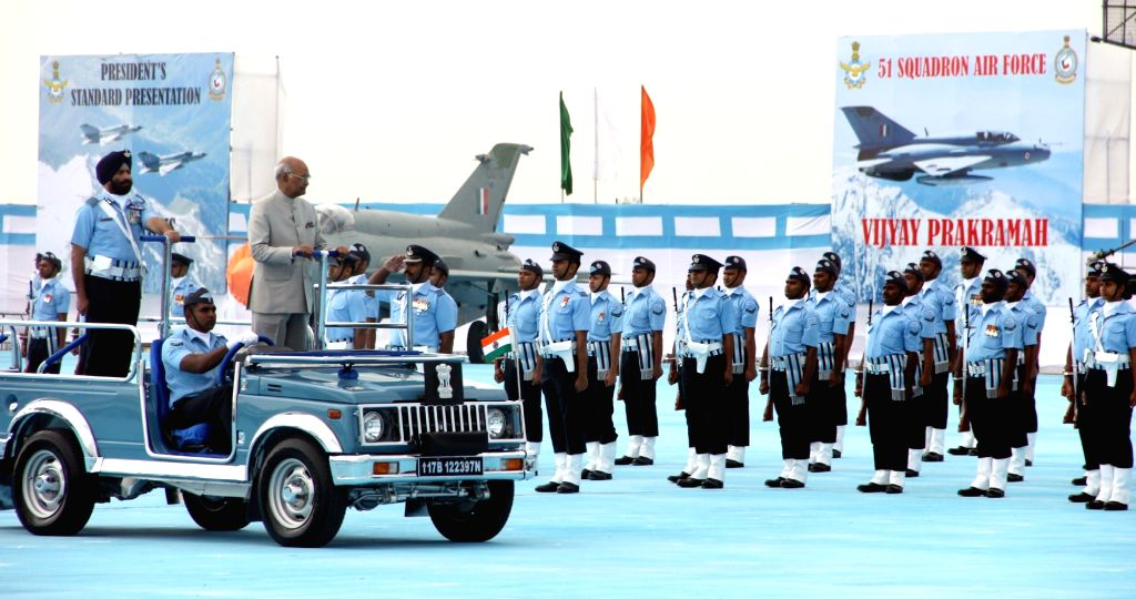 President and Supreme Commander of the Indian Armed Forces Ram Nath Kovind reviews a parade during the presentation of the President's Standard to 51 Squadron and President's Colours to ...