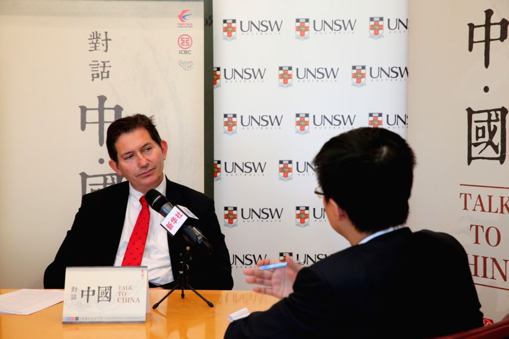 President and Vice Chancellor of University of New South Wales Professor Ian Jacobs (L) receives an interview at his office in Sydney, Australia, Aug. 13, 2015. Ian ...