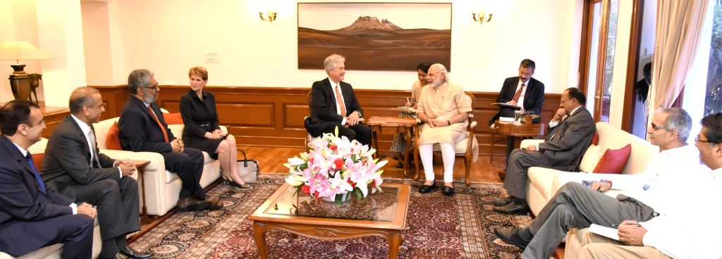 President Carnegie Endowment for Int`l Peace William J. Burns along with a delegation, calls on the Prime Minister Narendra Modi, in New Delhi on April 5, 2016. - Narendra Modi
