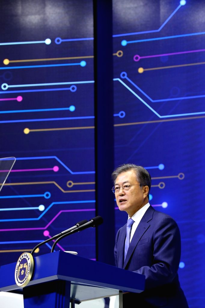 President Moon Jae-in declares a vision for South Korea's semiconductor industry during a visit to a Samsung Electronics Co. plant in Hwaseong, Gyeonggi Province on April 30, 2019. Moon ...