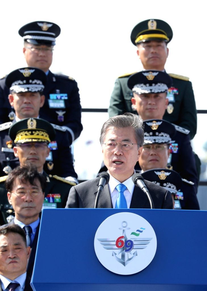 President Moon Jae-in gives a speech at a ceremony for the 69th Armed Forces Day on Sept. 28, 2017, at the Korean Navy 2nd Fleet in Pyeongtaek, 70 kilometers southwest of Seoul. Moon stressed ...