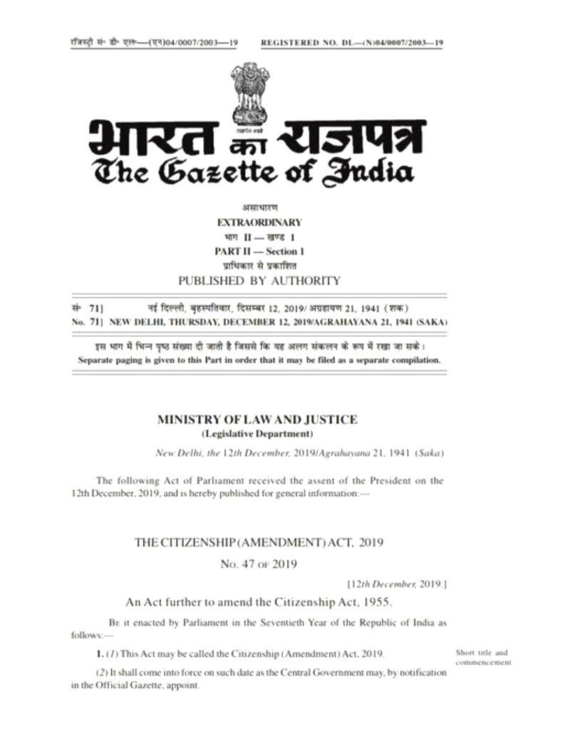 President nod for Citizenship (Amendment) Bill, turned Act.