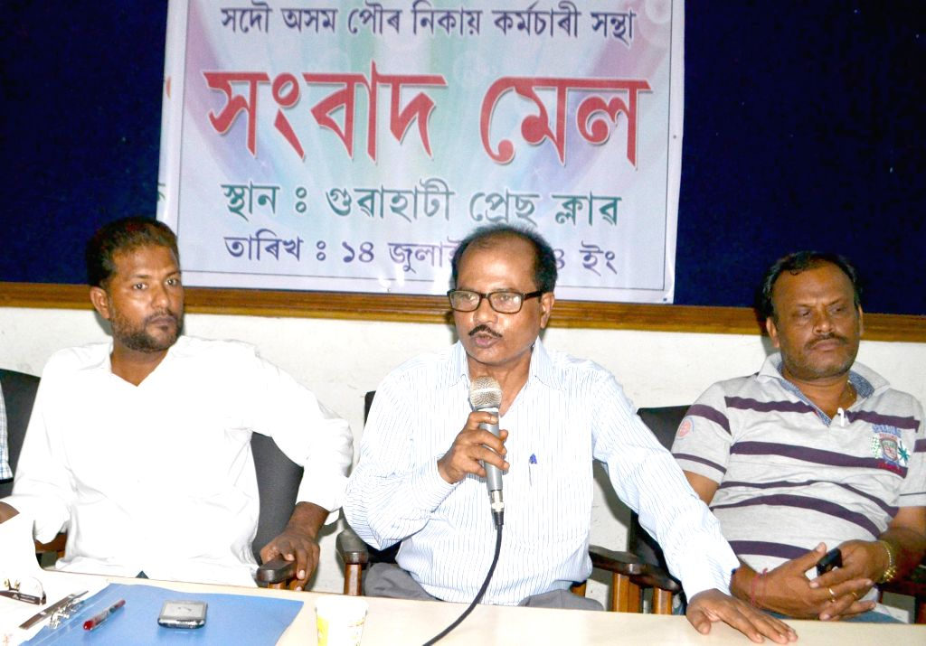 President of All Assam Civic Bodies Workers Federation of Nalbari, Abinesh Bhattacharjee addresses a press conference at Guwahati Press Club on July 14, 2014.