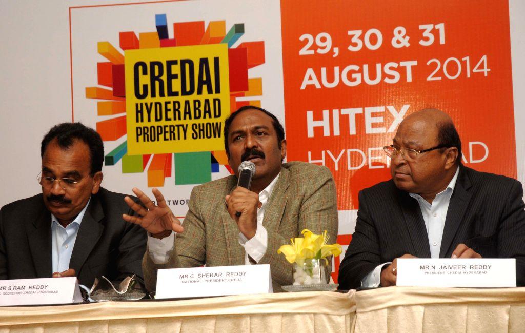 President of CREDAI C Shekar Reddy during a press conference in Hyderabad on Aug 21, 2014. - C Shekar Reddy