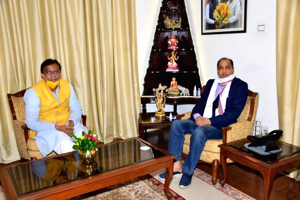 President of Haryana BJP and former Cabinet Minister of Haryana Om Prakash Dhankar called on the Chief Minister of Himachal Pradesh Jai Ram Thakur at his official residence Oakover, in Shimla ...