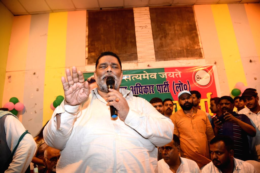 President of Jan Adhikar Party Pappu Yadav addressing media after getting bail in a 32 year old kidnapping case in Patna on Tuesday Oct. 5, 2021.  2021.