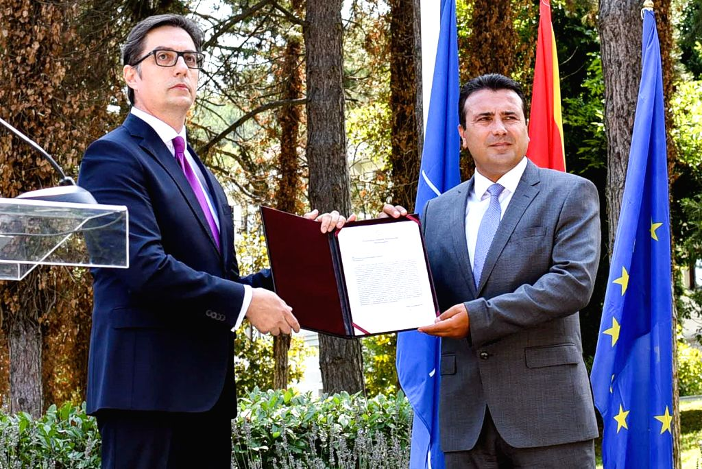 President of North Macedonia Stevo Pendarovski (L) hands the mandate for the formation of the new government to Zoran Zaev, leader of Social Democratic Union of ...