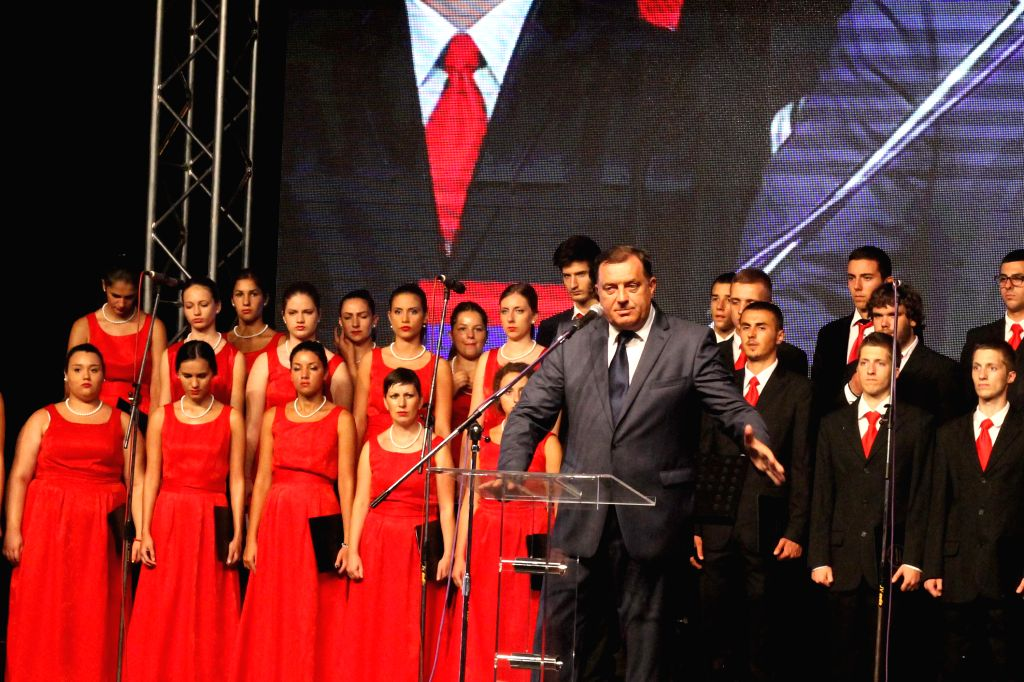 President of Republika Srpska Milorad Dodik(front) speaks in front of thousands of people gathering on the bank of the Sava River in honour of the victims of ...