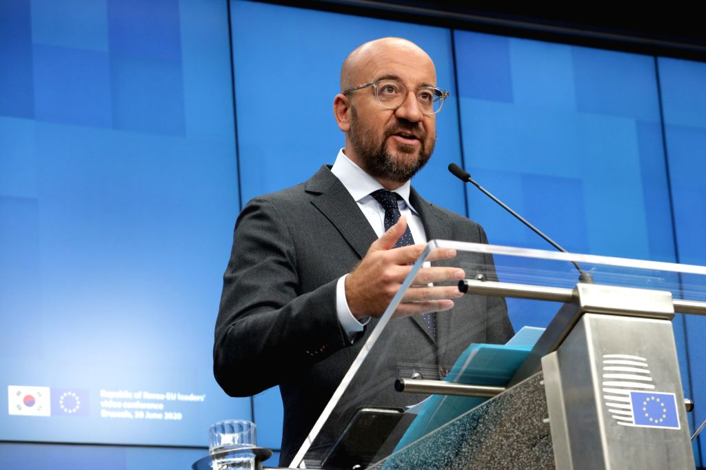 President of the European Council Charles Michel speaks at a press conference following the Republic of Korea-EU leaders' video conference at the EU headquarters in ...