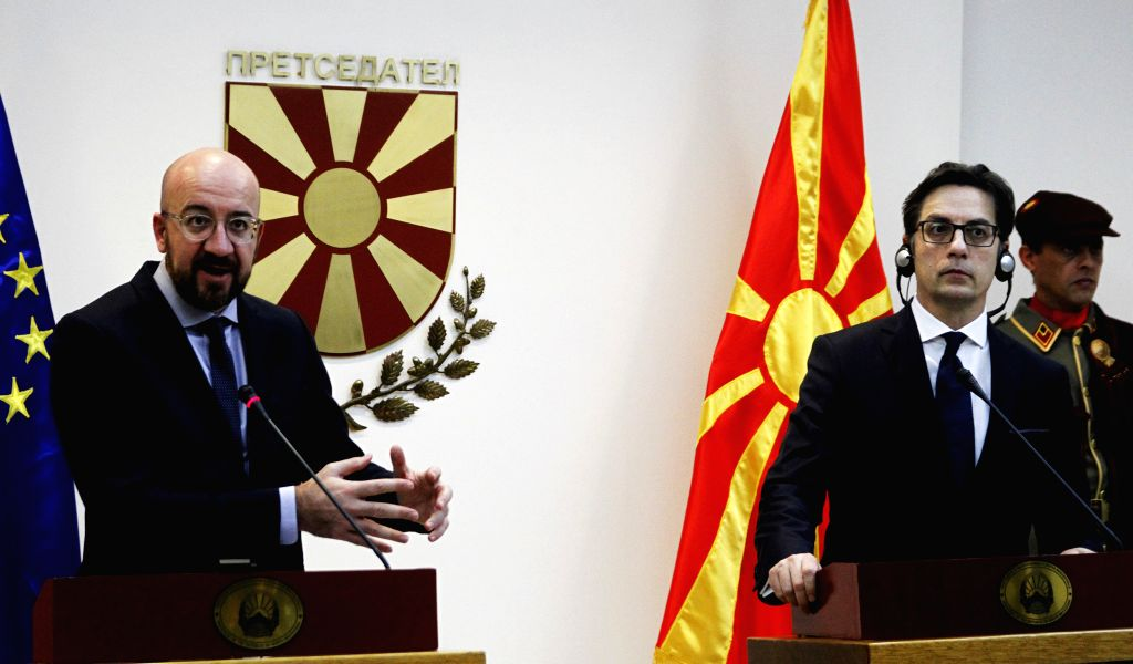 President of the European Council Charles Michel (L) and President of North Macedonia Stevo Pendarovski attend a joint press conference in Skopje, North Macedonia, ...