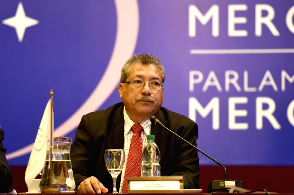 President of the Mercosur (Southern Common Market) Parliament Saul Ortega attends a meeting of the Mercosur Parliament in Montevideo, capital of Uruguay, Aug. ...