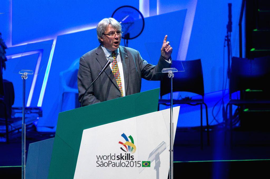 President of Worldskills International Simon Bartley addresses the opening ceremony of the 43rd Worldskills in Sao Paulo, Brazil, Aug. 11, 2015. The 43rd ...
