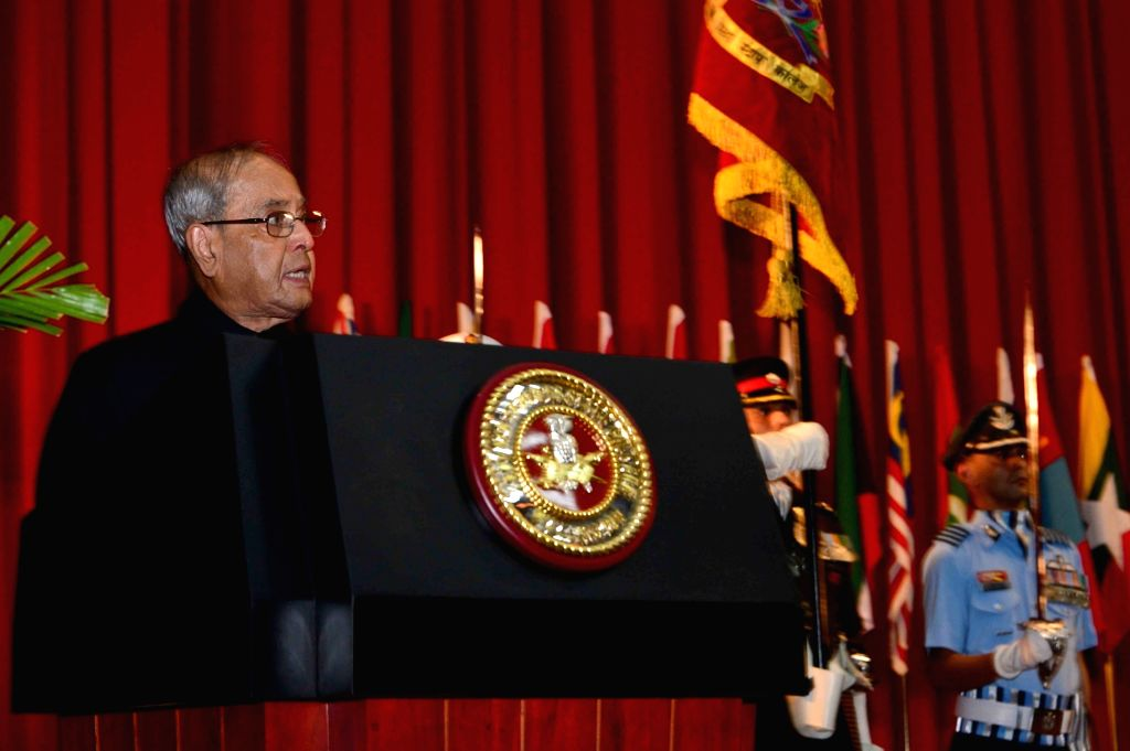 President Pranab Mukherjee addresses at the presentation ceremony of the President's Colours to the Defence Services Staff College, Wellington, Tamil Nadu on Sept 9, 2016. - Pranab Mukherjee
