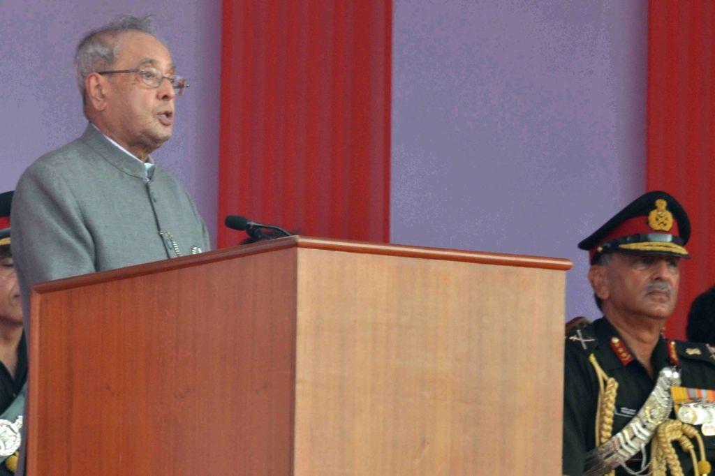 President Pranab Mukherjee addresses at the inauguration of Berhampore MilitaryStation, at Nabagram, in Murshidabad of West Bengal on Oct  8, 2016. - Pranab Mukherjee
