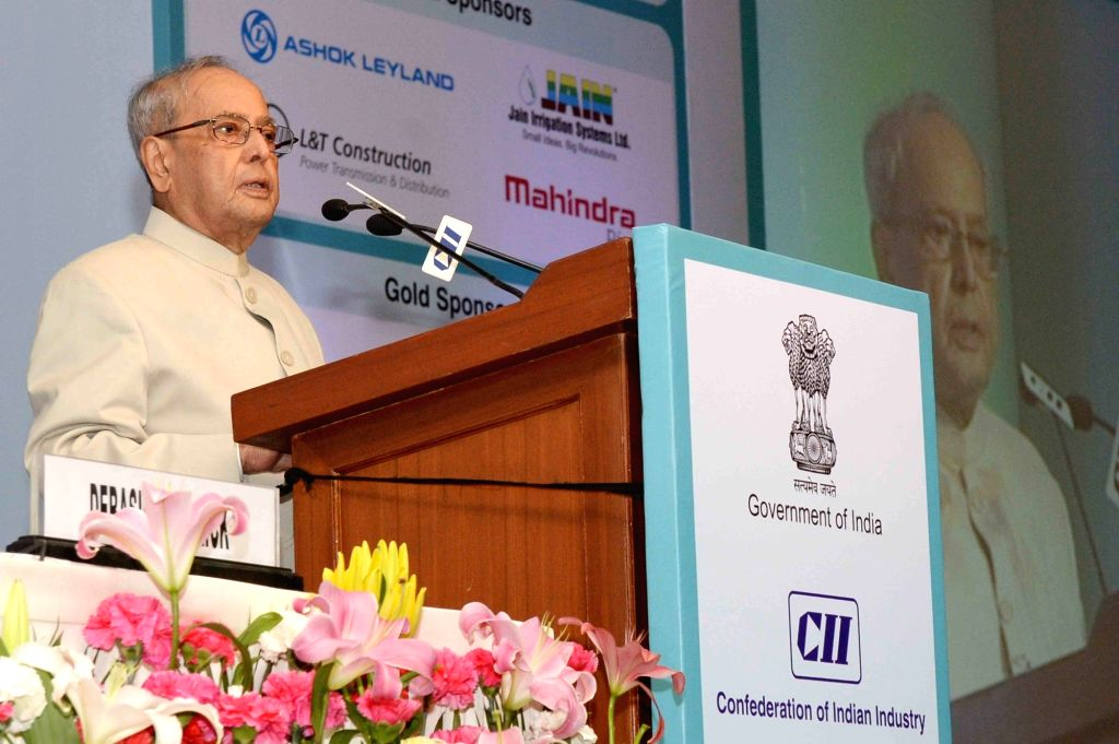 President Pranab Mukherjee addresses at the inaugural session of the 12th CII-Exim Bank Conclave, in New Delhi on March 9, 2017. - Pranab Mukherjee