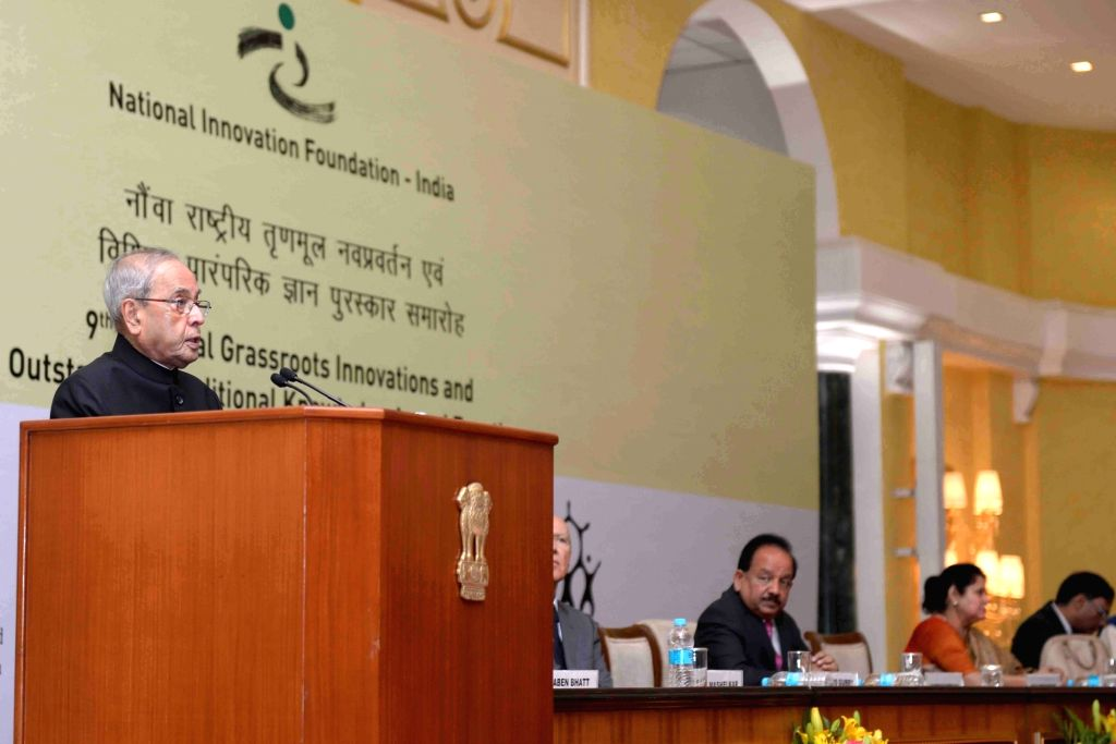 President Pranab Mukherjee addresses at the 9th National Biennial Awards for Grassroots Innovations and Outstanding Traditional Knowledge, at Rashtrapati Bhavan, in New Delhi on March 4, ... - Pranab Mukherjee