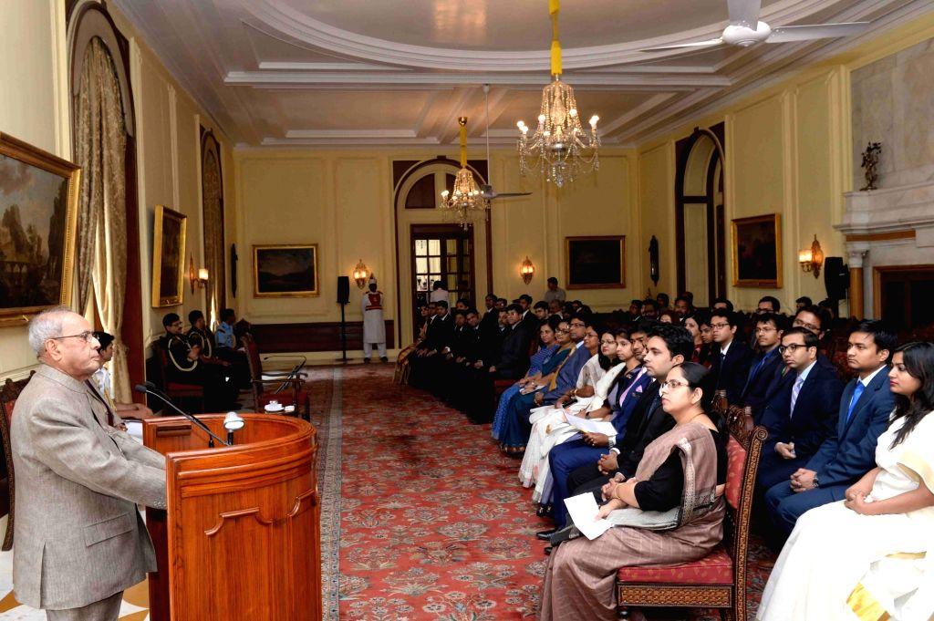 President Pranab Mukherjee addresses Civil Service Probationers from the National Institute of Financial Management at Rashtrapati Bhavan on May 4, 2017. - Pranab Mukherjee