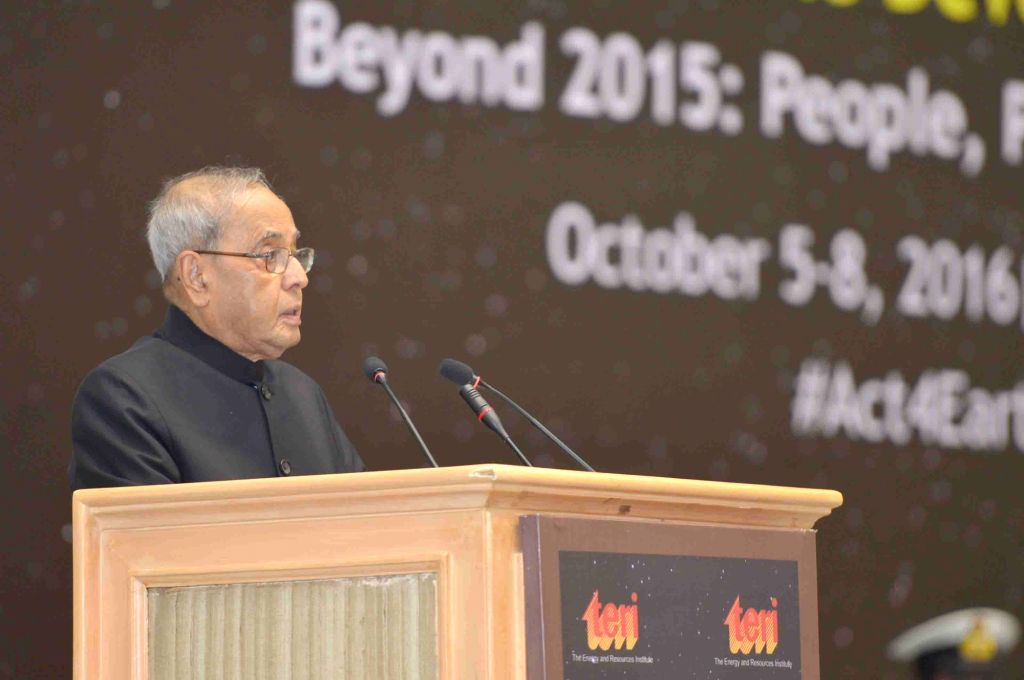 "President Pranab Mukherjee addresses during inauguration of the first edition of World Sustainable Development Summit on the theme ""Beyond 2015 : People, Planet and Progress"" ... - Pranab Mukherjee"