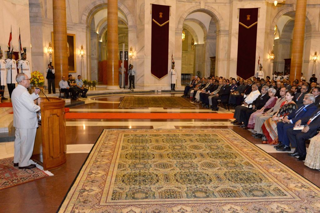 President Pranab Mukherjee addresses during a meeting with the delegation of Seventh Annual Heads of Mission Conference at Rashtrapati Bhavan, in New Delhi on May 30, 2016. - Pranab Mukherjee