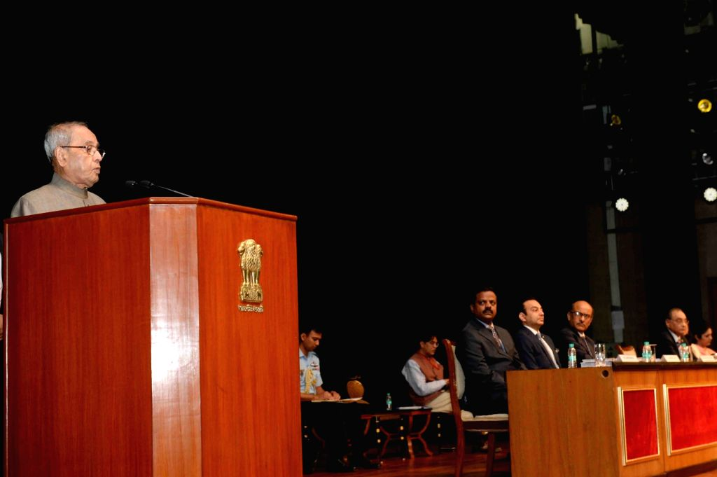 """President Pranab Mukherjee addresses during a programme organised to present the first copy of """"Colour Atlas of Oral Implantology"""" & """"Conservative Dentistry - ... - Pranab Mukherjee"""