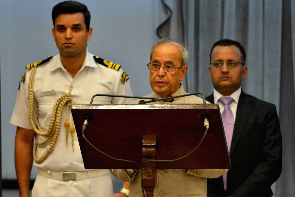 President Pranab Mukherjee addresses during an iftaar party hosted by him at Rashtrapati Bhavan in New Delhi on July 1, 2016. - Pranab Mukherjee